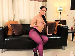 Purple nylon pantyhose on...