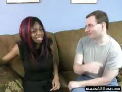 Nerdy black girl fucked by...